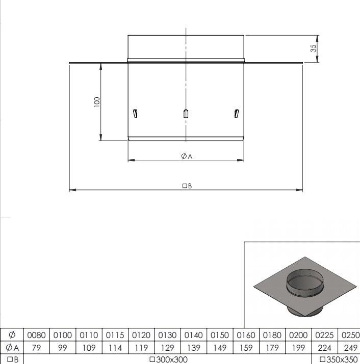 Schoorsteenplaat topaansluiting