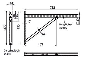 Wandkonsole TYP3 (Paar) Afstand tot 50.5 cm