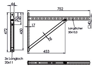 Wandkonsole TYP3 (Paar) Afstand tot 48.5 cm