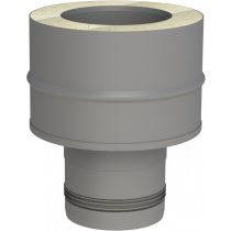 Koppelstuk pelletkachel 80 (mannelijk) - naar dubbelwandig 100 mm (luchtdicht)