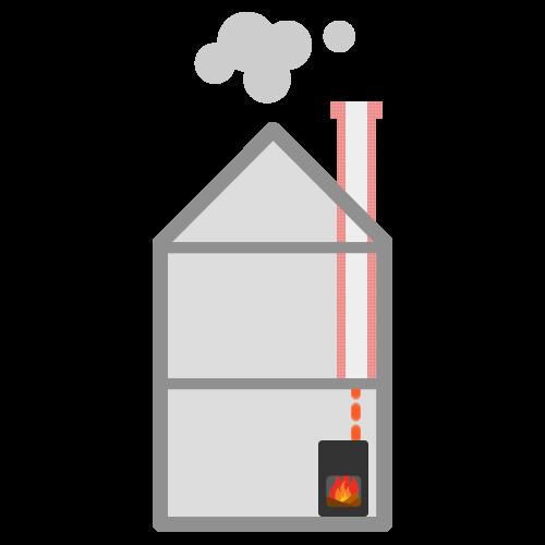 rookkanaal omhoog naar schoorsteen
